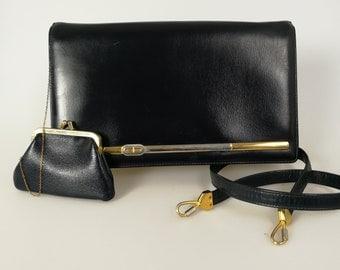 DIOR Christian Dior vintage dark blue leather shoulder bag / clutch