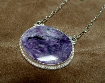 Charoite Pendant, Sterling Silver Charoite Necklace, Charoite Jewelry, Purple Gemstone, Ladies Charoite Necklace, 925, Purple Charoite, 1332