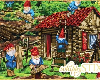 RARE! Gnome Fabric By the Yard, Handy Gnomes by Michael Miller Fabrics DC4245, BTY Whimsical Woodworking Gnome Cotton Material, Hard to Find