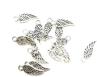 50 hollow antique silver angel wing charms