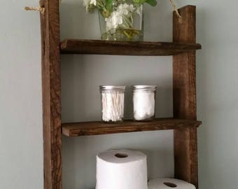 Rustic Ladder Shelf Rustic Wood And Rope Ladder Shelf Reclaimed Wood Shelf  Hanging