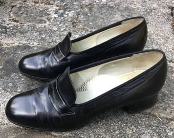 Doctor hasley - size 4 black woman leather shoes 1/2 heel 3.5 cm