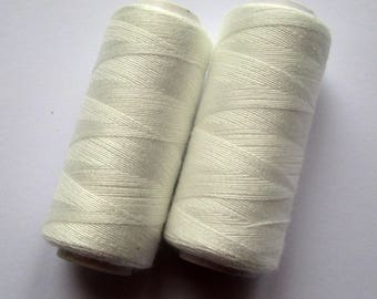 Set of 2 spools of thread for sewing 180 m - white