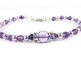 Lavender Love~ Handmade Beaded Bracelet~Pearls & Genuine Amethyst Seed Beads~ Sterling Silver Clasp~ Bridesmaid Gift