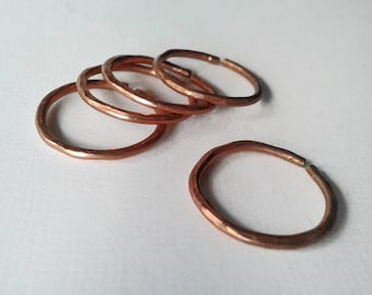 Copper rings, set of 5, stackable, adjustable, natural copper, boho jewelry