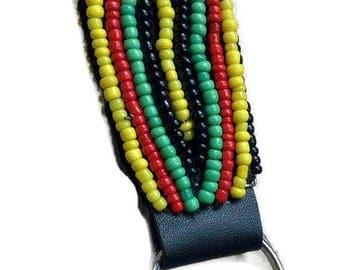 African Beaded Key Holder,Beaded Key Chain,Leather Key Chain