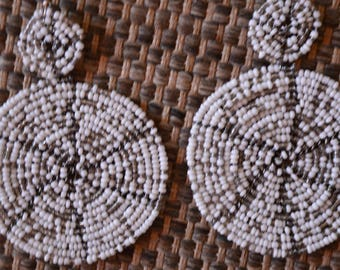African Maasai Beaded Earrings | White Color Earrings|Drop & Dangle Earrings |Tribal Earrings |Gift For Her