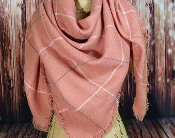 WINTER MARKDOWN Peachy-Pink Blanket Scarf, Tartan Scarf, Plaid Scarf, Oversided Scarf, Shawl, Wrap