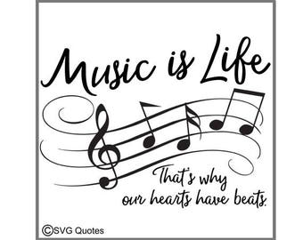 SVG Cutting File Music is Life DXF EPS For Cricut Explore, Silhouette & More.Instant Download. Personal and Commercial Use. Vinyl Stickers