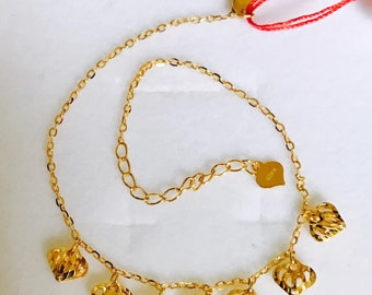22k solid 916 gold laser hearts charms bracelet