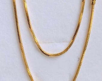 18 inches solid 22k gold 916 gold purity Milano Box chain necklace