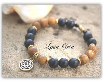 Bracelet matte Onyx gem stones Jasper, Celtic knot charm, gold plated Bracelet, gemstone bracelet, gem pearl bracelet