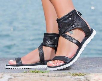 SALE/Black genuine leather sandals/genuine leather wedge sandals/comfortable leather sandals