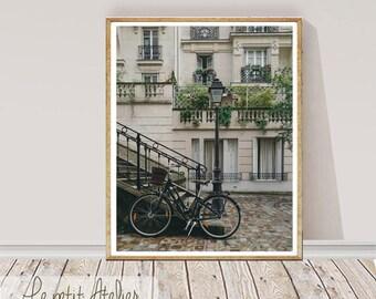 City Print Photography, Bicicle Wall Art, Frech building Decor, Bike Print, Nature Photo, Printable Art, Printable Modern Photo