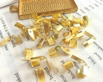 wholesale 100 Pieces /Lot gold Plated 9mmx5mm fold over ribbon clamp cord end crimp