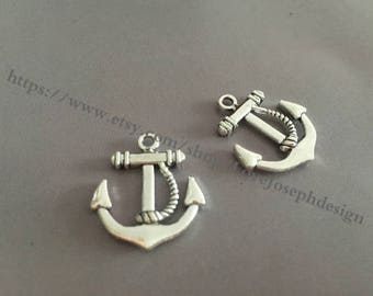 wholesale 100 Pieces /Lot Antique Silver Plated 20mmx22mm Anchor Charms (#052)
