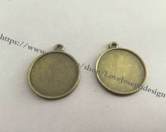 20mm(both side) --Wholesale 100 Pieces /Lot Antique Silver & Bronze Plated 20mm(both side) cabochon bezel trays charms(#0245)