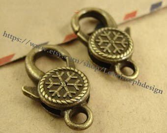 Set of 10 Pieces /Lot Antique Bronze plated 14mmx25mm Snowflake Lobster clasps (#0417)