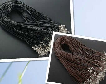 Adjustable 27-29inches wholesale 100pieces 2.0mm Black & Brown genuine necklace cords