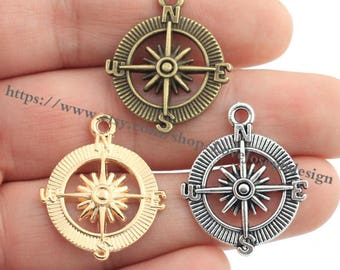 wholesale 100 Pieces /Lot Antique Silver Plated 25mmx29mm Compass charms