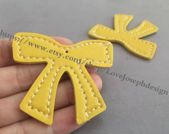 15 Pieces /Lot yellow 55mmx46mm fuax leather earring bowknot charms (#0478)