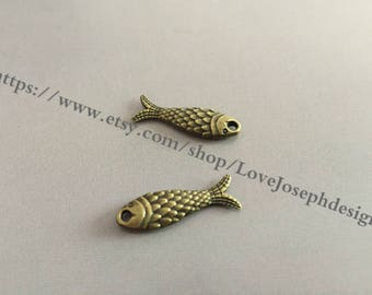 wholesale 100Pieces /Lot Antique Bronze Plated 8mmx24mm both side fish Charms