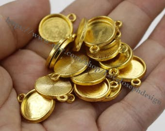 Wholesale 100 Pieces /Lot Antique gold Plated 12mm(one side) cabochon trays charms(#0916)