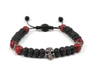 Urban Men's Coral & Lava Pull Tie Single Bracelet. Boho Jewelry. Bohemian Jewelry. Ideas for him. Gift for him.