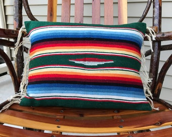 Pillow cover made of vintage runner with fringe, Southwest
