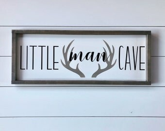 Little Man Cave - Nursery Sign - Baby Shower Gift - Baby Boy - Man Cave - Nursery - Wall Decor