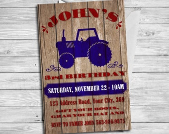 Tractor birthday theme, Tractor invitation, Tractor and Red Barn Wood Birthday Party, Red Tractor Farmer Birthday Invitiation   RT_4