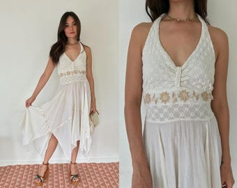 Vintage 70s Crochet and Embroidered Cream Halter Top Cotton Gauze Dress