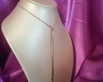 Gold long rhinestone string necklace