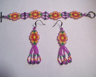 Hand Beaded Bracelet and Earring Set-Child Size