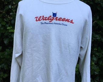 25% OFF SALE Vintage 80s Walgreens Pharmacy 1980s Crewneck Sweatshirt - vintage sweatshirt - vintage sweater (Large)
