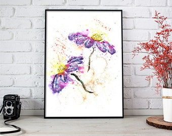 Purple Watercolor, Purple Flower, Purple Flower Watercolor, Flower Painting, Purple Flower Painting, Contemporary Art, Flower Wall Art Print
