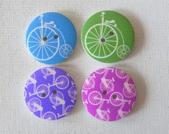 4 round wooden buttons sewing, children, 3 cm VINTAGE bike I scrapbooking