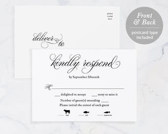 Rsvp card template etsy rsvp card template printable wedding rsvp rsvp postcard response card editable pdf pronofoot35fo Images