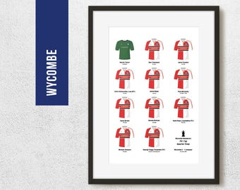 Wycombe 2001 FA Cup Quarter Final Team Print, Football Poster, Football Gift, FREE UK Delivery