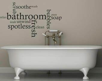 Great Bathroom Wall Quote Word Cloud, Wall Art Sticker, Decal, Modern Transfer,  Tattoo