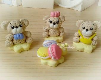 Teddy Bear cake topper, polymer clay macaroons, Bear birthday cake topper, Baby Shower topper, 1st Birthday Cake Topper