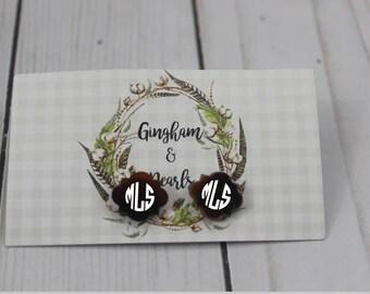 Monogrammed Acrylic Earrings+Monogrammed Quatrefoil Studs+Tortoise Monogrammed Earrings+Tortoise Stud Earrings+Tortoise Shell Earrings