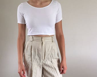Vintage 90s Minimalist Gingham Linen High Waisted Pleated Shorts