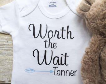 Worth The Wait Onesie, Personalized Onesie, Newborn Onesie, Baby Boy Onesie, Baby Boy Clothes,  Baby Boy Bodysuit, Personalized Bodysuits