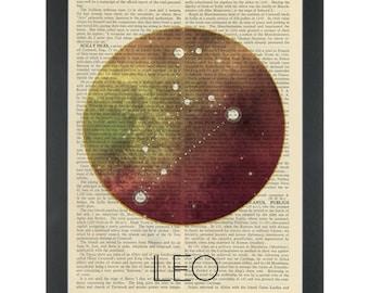 Zodiac Leo Dictionary Art Print