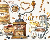 Coffee clipart, coffee cup, food clipart, watercolor coffee, coffee grinder, kitchen decor, cake clipart, Hand Painted, digital watercolor