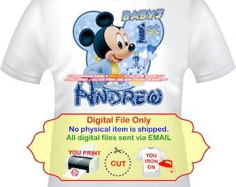 Mickey Iron On, Baby Mickey 1st, Birthday Iron On, Baby Mickey, 1st Birthday, Iron On Mickey, Mickey Transfer, Mickey shirt decal- BABYMICK4