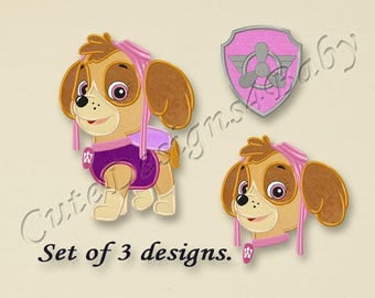 SALE! SET, Paw Patrol Skye applique embroidery design, Paw Patrol Machine Embroidery Designs, Embroidery designs for baby, 3 designs #026