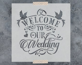 Welcome to Our Wedding Stencil - Reusable DIY Craft Wedding Stencils for Signs