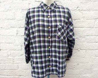 Flannel shirt, vintage 90's plaid, women's fashion